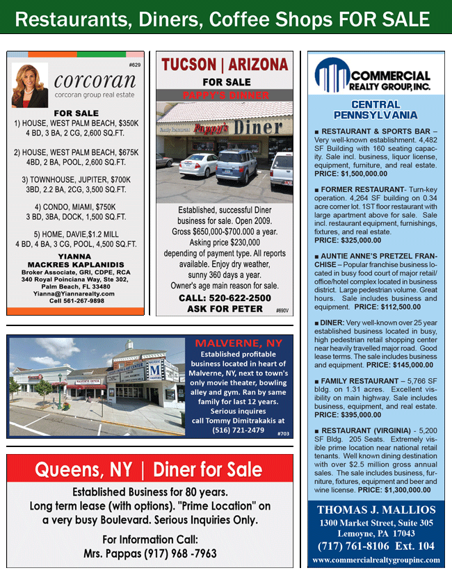 Corcoran Group Real Estate, Pappy's Diner Tucson, Pappy's Diner AZ, Diner for Sale Arizona, Diner for Sale Tucson, Diner for Sale AZ, Business for Sale Malverne, Business for Sale NY, Diner for Sale Queens, Diner for Sale NY, Commercial Realty Group, Thomas Mallios Realty