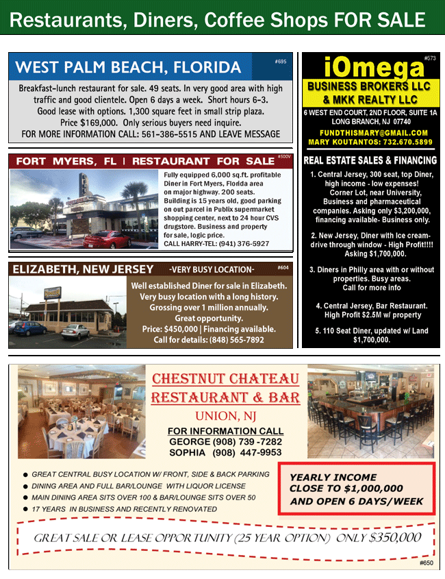 Restaurant for Sale West Palm Beach, Restaurant for Sale FL, Restaurant for Sale Fort Myers, Restaurant for Sale FL, Diner for Sale Elizabeth, Diner for Sale NJ, iOmega Business Brokers, Mary Koutantos, Restaurant for Sale Union, Restaurant for Sale NJ, Restaurant for Lease Union, Restaurant for Lease NJ