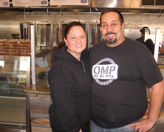 OH MY PITA Restaurant, owners Demetri and Lisa Mougolias.