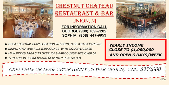 For Sale - Chestnut Chateau Restaurant & Bar, Union NJ, May 2018.