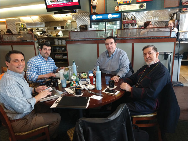 Metropolitan Athenagoras at Blueberry Hill Cafe (Oak Brook IL) with Steven Zervakis, Bobby Alexopoulos George Nikolopoulos