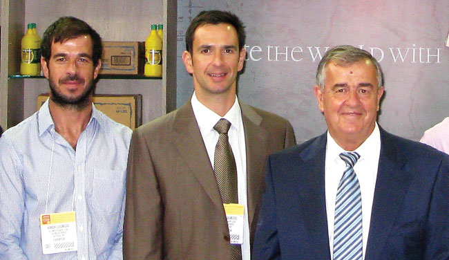 Sotiris Loumidis, right, with his sons, both in business with him, Kimon, left, and Iason.