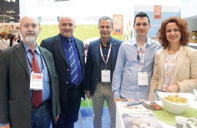 Summer Fancy Food Show 2018: Amalthia SA, Aitoliko, Greece: Vasilis Antzoulis, Publisher Triiris magazine, Konstantinos Lyros, Konstantinos Zoukas, Athanasios Zoukas and Evangelia Zouka.
