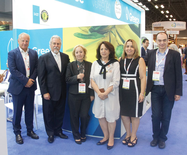 Summer Fancy Food Show 2018: Enterprise Greece SA, Athens, Greece: Grigoris Stergioulis Chairman, Phil Lempert, Adela Stergiou, Margaret Leedis, Froso Zogopoulou, and Antonis Gravanis, Director of International Trade Fairs.