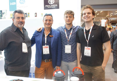 Summer Fancy Food Show 2018: Filippos Flavors, Arta, Greece: Kostas Tyras (Food Fest-Victory Foods representatives), Filippos Beis (Founder), Michail Beis and Christos Nikolos.