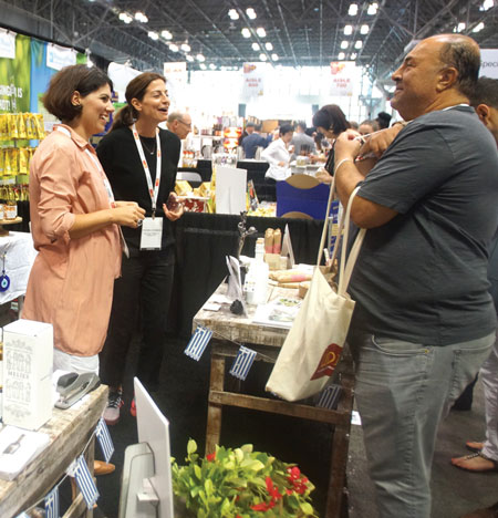Summer Fancy Food Show 2018: Hellenic Farms, Roselle, NJ: Vivian Karamanis, founder, with associates.