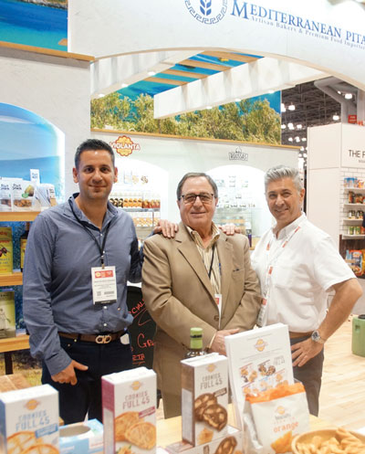 Summer Fancy Food Show 2018: Mediterranean Pita, LIC, NY: Hristoforos Vekiaris, Vasilis Memmos President of the company and Founder and Chairman of Corfu Foods in Bensenville IL, and Yani Mavridopoulos VP Procurement & Sales.