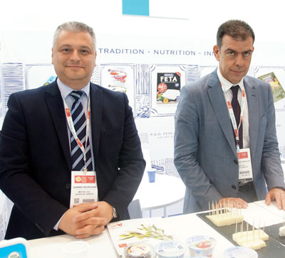 Summer Fancy Food Show: Mevgal, SA, Koufalia, Greece: Ioannis Gkorogias and Konstantinos Dimoulas, Sales Manager.