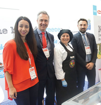 Summer Fancy Food Show 2018: Palirria SA, Evia, Greece: Chryssa Sapountzi, Arnoud Oor Sales & Exports Director, Chef Maria Benardis and Georgios Raptis.